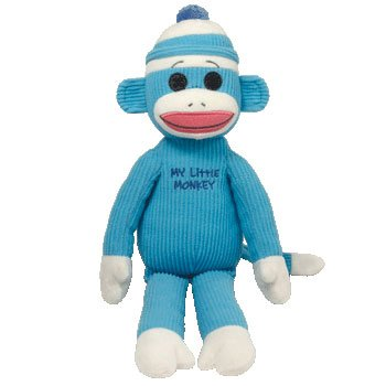 Ty Beanie Buddy - My Little Monkey - Blue Large Big Blue Monkey