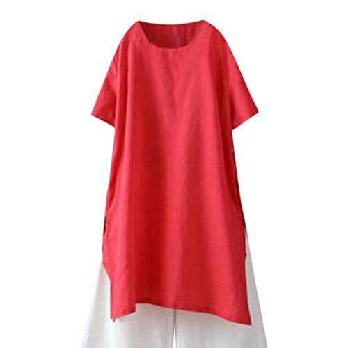NCCIYAZ Womens Tunic Loose Solid Short Sleeve Cut-Out Side O-Neck Long Shirt Ladies Blouse Plus Size Oversized(3XL(14),Red)]()