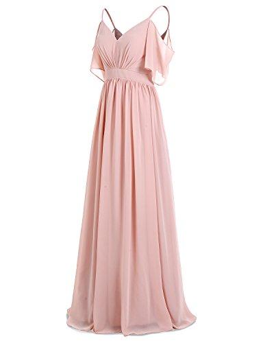 Dress Chiffon Spaghetti V Straps Long Neck Bridesmaid Bridesmay Evening Dress Pink 6wnzfqxT