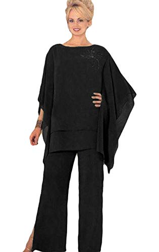 Mother Pants Suits Plus Size Chiffon Evening Formal Wear Mother Groom Trousers Suits Black