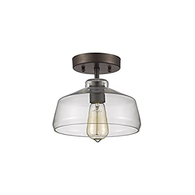 "Chloe Lighting CH854010CL09-SF1 Industrial Industrial-Style 1 Light Rubbed Bronze Semi-Flush Ceiling Fixture 9"" Shade"