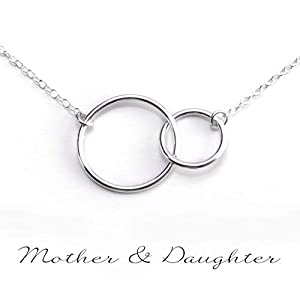 MOTHER DAUGHTER NECKLACE - PURE Sterling Silver Necklace - Gifts For Mom (HandeMade in the USA by Gracefully Made Jewelry)