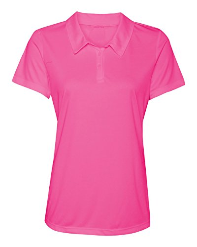 Women's Dry-Fit Golf Polo Shirts 3-Button Golf Polo's in 20 Colors XS-3XL Shirt PINK-XL (Polyester Golf Polo Shirt)