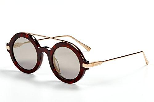 Handmade Optics - ILL.I Optics by will.i.am Bold Circular Acetate Sunglasses with Titanium Top Bar One Size Tortoise/Gold