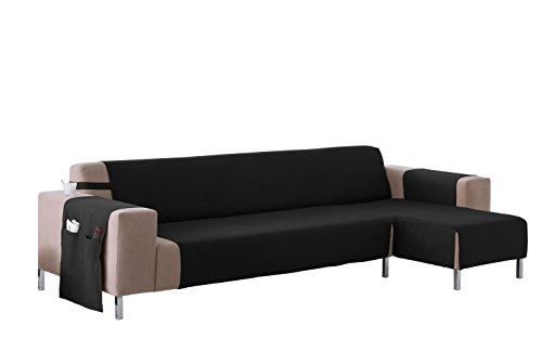 Martina Home Cubre sofá Chaise longue modelo Betta - Tela - Brazo derecho - color Negro - medida 240 cm ancho.