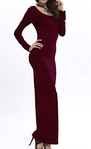 Bodysuit Sleeve Long Wine Coolred Women Stretch Red Colour Pure Dress Maxi Soft TUETtw