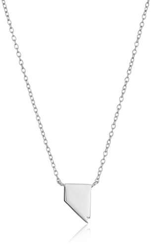 Sterling Silver Stationed Mini State Nevada Pendant Necklace, 16