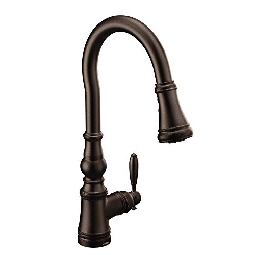 Moen S73004ORB Weymouth Shepherd's Hook Pulldown Kitchen Faucet Featuring Metal Wand with Power Boost, Oil-Rubbed - Wand Touch Decorative