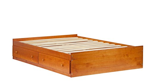 "Palace Imports 2444 100% Solid Wood Kansas Mate's Platform Storage Bed Color, 15""H x 57""W x 76""L, 13 Slats, 2 Drawers Included. Optional Bookcase Headboard, Rail Guard Sold Separately. Requires Assembly, Full, Honey Pine - Honey Pine Bookcase"