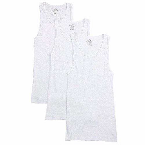 (Calvin Klein Men's 3-Pack Cotton Classic Rib Tank, White, Small)