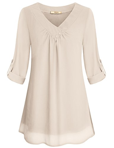 Miusey Chiffon Clothing Women, Ladies Simple V Neck Roll Sleeve Front Pleated Light Material Summer Fashion Comfy Snug Lovely Blouses Shirt Top Beige M from Miusey