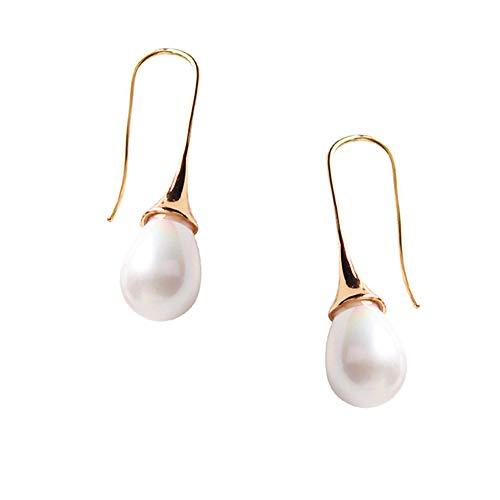 Teardrop faux Pearl Earrings Women Elegent Long Drop Stud Wedding Prom Vintage Champagne Short