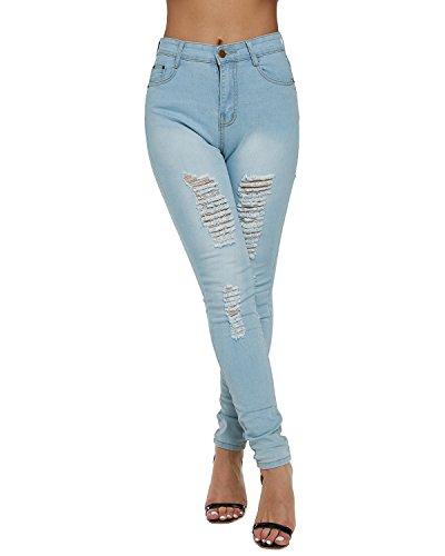 A Vita Dorimis Stretch Donna Strappato Pants Sexy Alta Pantaloni Skinny Denim Jeans Blu Cropped 04 qq8wFR