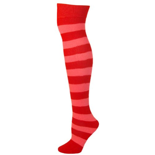 AJs Adult Striped Knee Socks - Red, Hot Pink-M ()