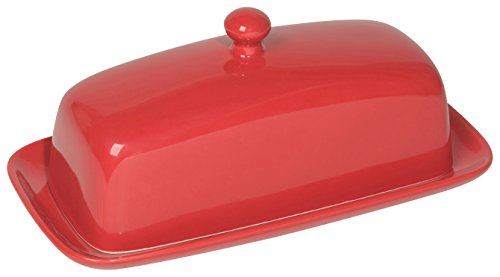 Now Designs Stoneware Butter Dish with Lid - Red (Large Image)