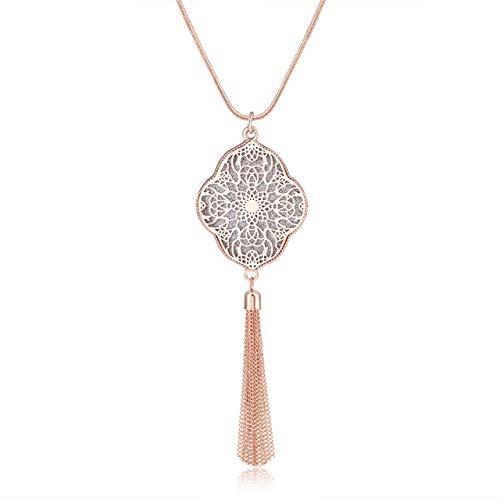 Long Necklace for Women Statement Quatrefoil Pendant Necklace Bohemia Chain Tassel Fringe Y Necklaces (Rose Gold)