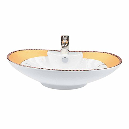 """""""Phoenix"""" White Gold Accented Countertop Vessel Sink 