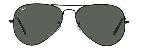 Ray Ban RB3025 Aviator Sunglasses Unisex (58 mm Frame Black Solid Black G15 - Aviators Ray Mens Ban Sunglasses
