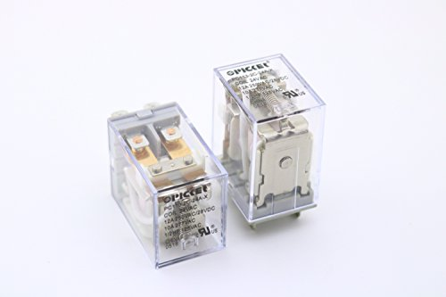 (x2) PC113-2C-24A-X-2   DPDT 24 VAC Coil 12 Amp 250 VAC UL Rated, Miniature General Purpose Ice Cube Relay with Clear Plastic Case   Cross: Song Chuan SCL-DPDT-24VAC; Omron LY2F-AC24