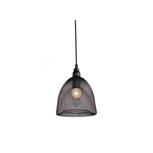 Motent Industrial Modern Single Head Black Metal Net Lamp Shade Mesh Bird Cage Pendant Light Fixture for Showroom Studio Salon - 7.2 inches Dia by MOTENT