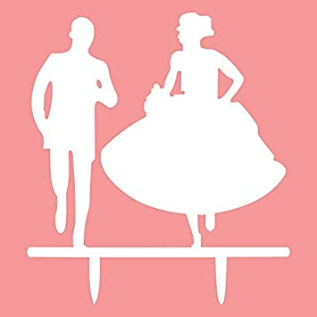 Admirable Running Bride And Groom Cake Topper Acrylic Romantic Wedding Download Free Architecture Designs Scobabritishbridgeorg