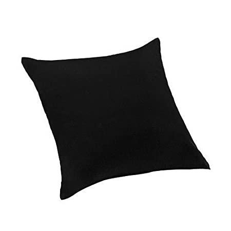 Black Extra Large 24 60cm Scatter Sofa Cushion 100 Cotton Twill With Zip Cover Ready Filled With Hollowfibre Pad