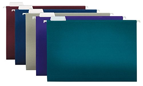 (Office Depot 2-Tone Hanging File Folders, 1/5 Cut, 8 1/2in. x 14in, Legal Size, Assorted Colors, Box of 25, ODOM01945)