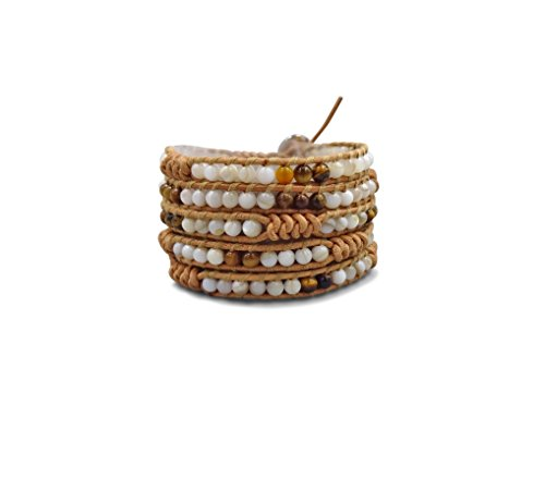 MGR Multi-Layer Hand Crafted Boho White Mother of Pearl and Brown Agate Stone Beaded on Genuine Leather Super 5 Wrap Bracelet 35