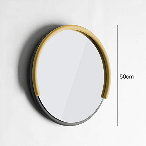 Modern Metal Decorative Wall Mirror Macarons Color C-Shape Framed Round Hanging Vanity -