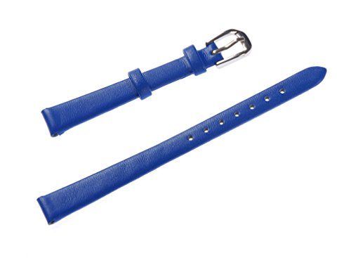 Mm Watch Band 10 (Uyoung 10mm Women's Solid Blue Smooth Genuine Leather Watch Band)