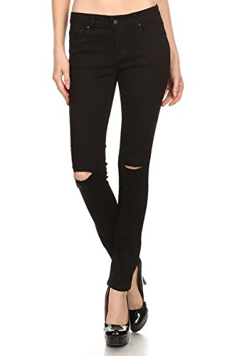 Vialumi Women Juniors Slashed Slit Knee Distressed Ripped Skinny Jeans Black 9