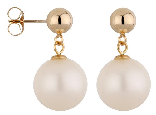 14k Yellow Gold 3mm Ball Stud Earring with Round Freshwater Cultured Pearl