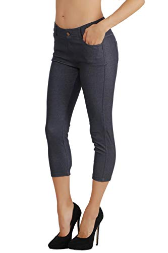 Fit Division Women's Jean Look Cotton Blend Jeggings Tights Slimming Full Lenght Capri and Classic Bermuda Shorts Leggings Pants S-3XL (L US Size 10-12, FDJN096-NVY)