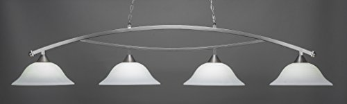 (Toltec Lighting 874-BN-612 Bow - Four Light Billiard, Brushed Nickel Finish with White Linen Glass)