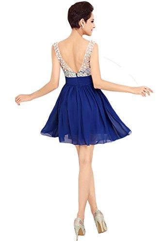 Royalblau Elegant V Brautjungfernkleid Ausschnitt Ballkleider Ivydressing Kurz Abendkleider Festkleid Damen Steine v4Aq4T