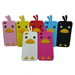 Cartoon Chick Pattern Silicone Protective Case for iPhone 4 4S --- Color:Pink