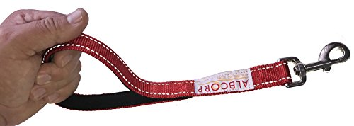 ALBCORP Short Dog Leash, Owen Nylon with Padded Neoprene Handle, 12 inch, Red
