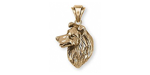 Border Collie Jewelry 14k Gold Border Collie Charm Handmade Dog Jewelry BDC6-PG