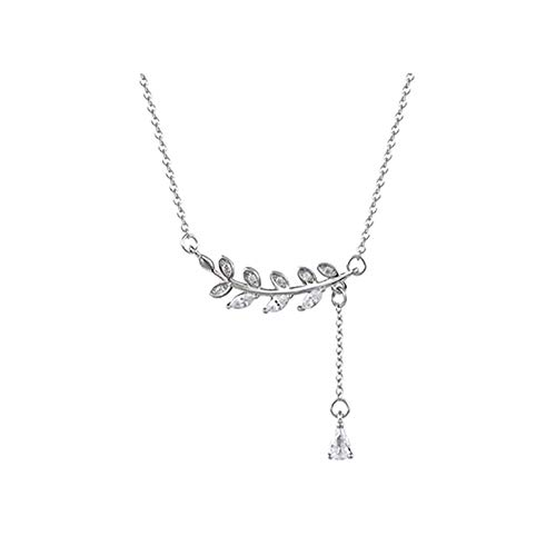 Y-XINOD Leaves Clavicular Chain, Necklace Pendant S925 Sterling Silver Fashion Jewellery Romantic Personalised Birthday Gifts Box for Women Girls Ladies Mum