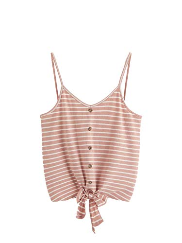 (SheIn Women's V Neck Tie Knot Front Ribbed Knit Sleeveless Cami Tank Crop Top X-Large Pink Stripe)