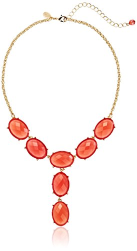 1928 Jewelry Jeweltones Gold-Tone Orange Oval Faceted Drop Y-Shaped Necklace (Gold Tone Oval Necklace)
