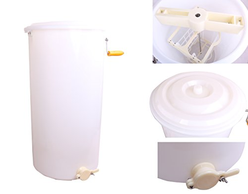 Two 2 Frame Plastic Manual Bee Honey Extractor Honeycomb Drum Beekeeping White