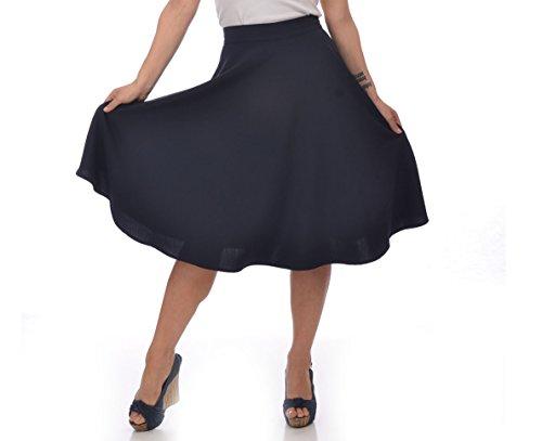 Steady-Clothing-High-Waist-Pin-up-Office-Lady-Navy-Swing-Circle-Midi-Skirt