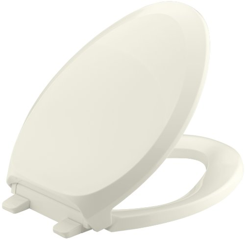 KOHLER K-4713-96 French Curve Quiet-Close with Grip-Tight Bumpers Elongated Toilet Seat, Biscuit ()
