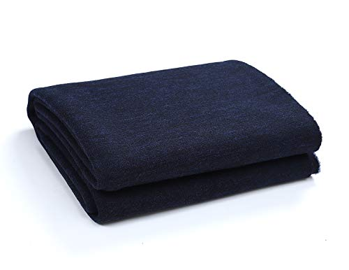 PuTian 100 Percent Australian Soft Merino Wool Blanket Warm Throw for Winter Autumn Lightweight Machine Washable BlackBlue