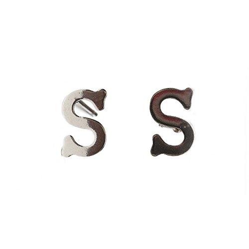 Idin Boucles d'Oreilles Fluorescent - Initiale S en acier inoxydable (env. 10 mm)