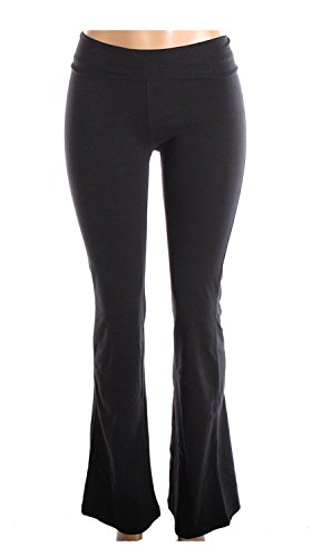 Fold Over Fitness Pant - MOPAS Womens Cotton Spandex Yoga Pants for Fitness Gym Athletics & Lounge - Black/Small