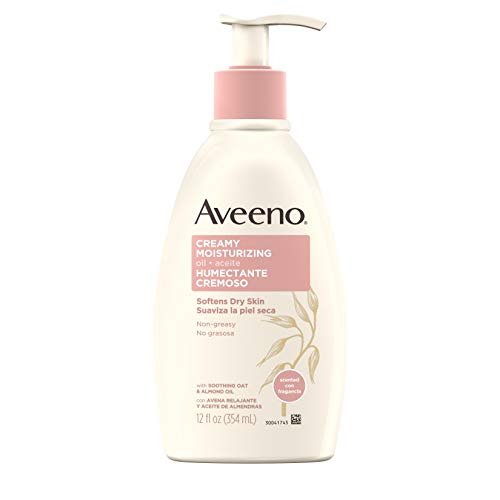 - Aveeno Creamy Moisturizing Body Oil for Dry Skin with Soothing Oat, Sweet Almond & Sesame Oil, Non-Greasy Light Body Lotion with Light Fragrance, 12 fl. oz
