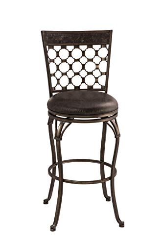 Hillsdale Furniture 5752-831 Brescello Swivel Bar Height Stool, Barstool, Antique Pewter/Blue Stone Top Panel ()