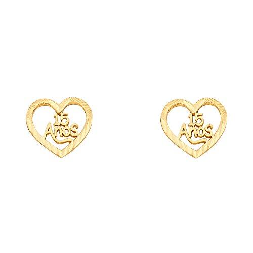 14k Yellow Gold Fancy 15 Quinceañera Heart Stud Earrings (10 x 10 mm) ()